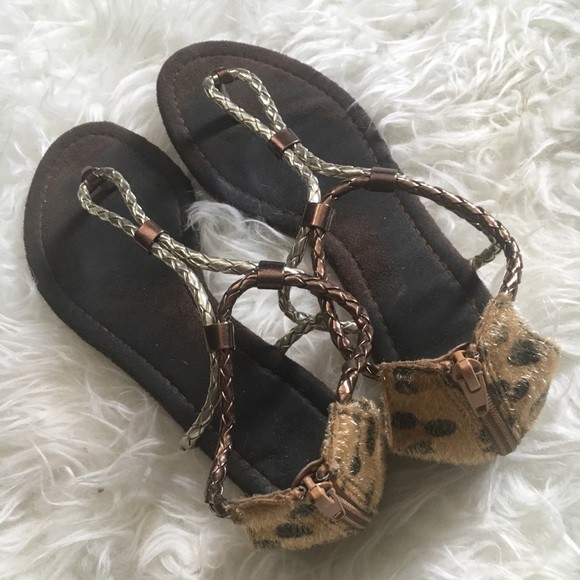 Shoes - Leopard and bronze sandals